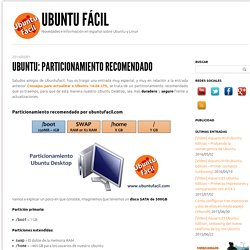 Ubuntu: Particionamiento recomendado