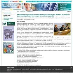 Educación ha participado en un estudio nacional pionero que identifica las prácticas docentes más eficaces para mejorar el rendimiento escolar - Comunicación - Portal del Gobierno de La Rioja