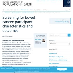 Screening for bowel cancer: participant characteristics and outcomes — Nuffield Department of Population Health