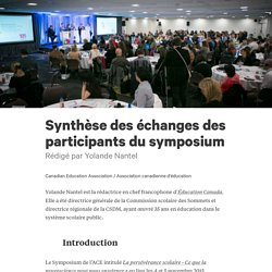 Synthèse des échanges des participants du symposium