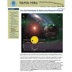 No. 41 - 2011: You Can Participate in Astronomy Research Projects