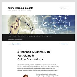 3 Reasons Students Don't Participate in Online Discussions