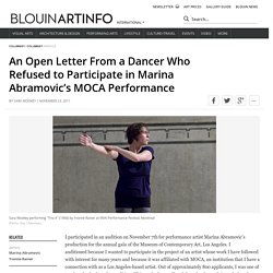 An Open Letter From a Dancer Who Refused to Participate in Marina Abramovic's MOCA Performance
