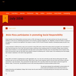 Brizio Pizza participates in promoting Social Responsibility