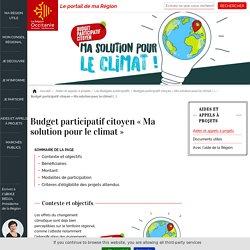 Budget participatif citoyen « Ma solution pour le climat »