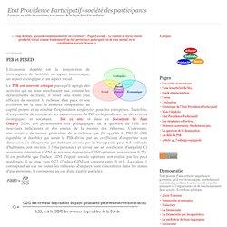 PIB et PIBED : Etat Providence Participatif=société des participants