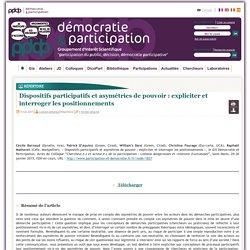 Dispositifs participatifs et asymétries de pouvoir : expliciter et interroger les positionnements