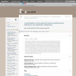 La participation sur les espaces de contenus générés par les utilisateurs, une exploitation collaborative