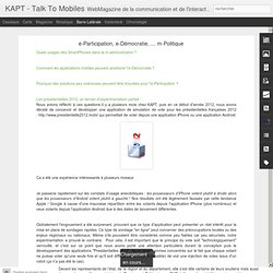 e-Participation, e-Démocratie, ... m-Politique