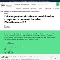 Participation citoyenne au développement durable : l'avis du CESE
