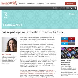 Public participation evaluation frameworks: United States