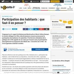 Participation des habitants : que faut-il en penser