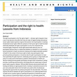 Participation and the right to health: Lessons from Indonesia