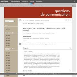 Web et participation politique: quelles promesses et quels pièges?