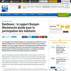 Banlieues : le rapport Bacqué-Mechmache plaide pour la participation des habitants
