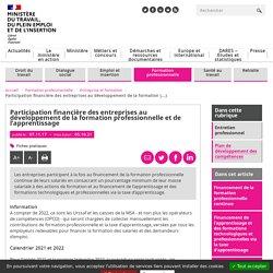 Participation financière des entreprises au développement de la formation professionnelle et de l'apprentissage