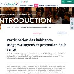 Participation des habitants–usagers–citoyens et promotion de la santé / Promosanté, novembre 2019