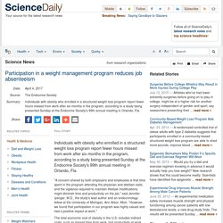 Participation in a weight management program reduces job absenteeism