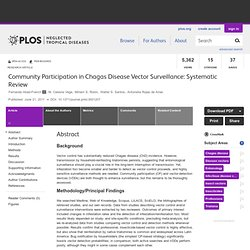 PLOS 21/06/11 Community Participation in Chagas Disease Vector Surveillance: Systematic Review