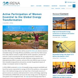 Active Participation of Women Essential to the Global Energy Transformation