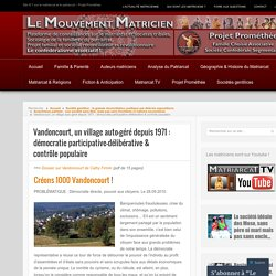 Vandoncourt, un village auto-géré depuis 1971 : démocratie participative-délibérative & contrôle populaire