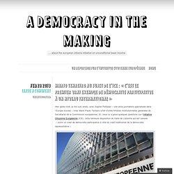 Mario Tenreiro au sujet de l'ICE : « c'est le premier vrai exemple de démocratie participative à un niveau international »