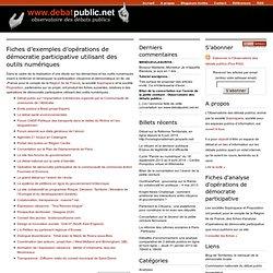 Fiches d'exemples d'opérations de démocratie participative utilisant des outils numériques