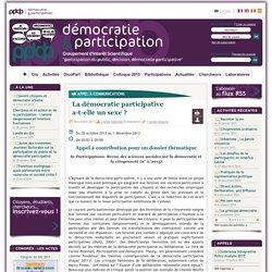 La démocratie participative a-t-elle un sexe ?