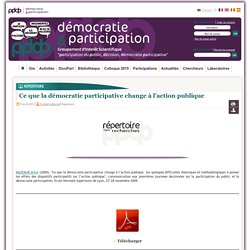 Ce que la démocratie participative change à l'action publique
