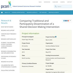 Comparing Traditional and Participatory Dissemination of a Shared Decision Making Intervention