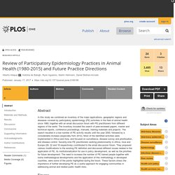 PLOS 17/01/17 Review of Participatory Epidemiology Practices in Animal Health (1980-2015) and Future Practice Directions