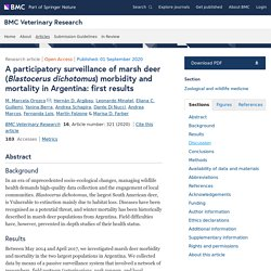 BMC VETERINARY RESEARCH 01/09/20 A participatory surveillance of marsh deer (Blastocerus dichotomus) morbidity and mortality in Argentina: first results