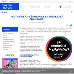 Participez à 3e édition de La Fabrique à Chansons ! - La Sacem