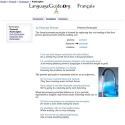 French Present Participles -LanguageGuide.org