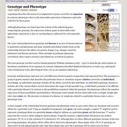Genotype and Phenotype - Traits, Genetic, Particular, and Individual