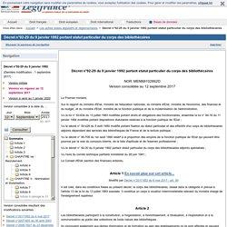 Décret n°92-29 du 9 janvier 1992 portant statut particulier du corps des bibliothécaires