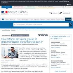 Particulier employeur -Un certificat de travail gratuit et personnalisable sur Service-public.fr