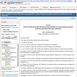 Décret n°92-850 du 28 août 1992 portant statut particulier du cadre d'emplois des agents territoriaux spécialisés des écoles maternelles
