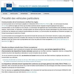 Fiscalité des véhicules particuliers - Commission Européenne