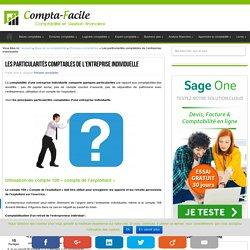 Traitements comptables particuliers liés à l'entreprise individuelle