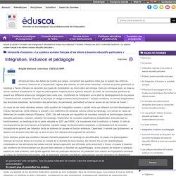 Université d'automne « Le système scolaire français et les élèves à besoins éducatifs particuliers » - Intégration, inclusion et pédagogie