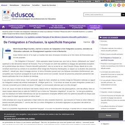 Université d'automne « Le système scolaire français et les élèves à besoins éducatifs particuliers » - De l'intégration à l'inclusion, la spécificité française