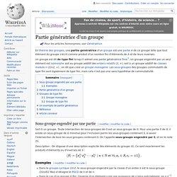 Partie génératrice d'un groupe