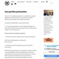 Les parties prenantes - Management - BTS CG