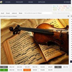 Violon, partition de musique, livre Wallpaper