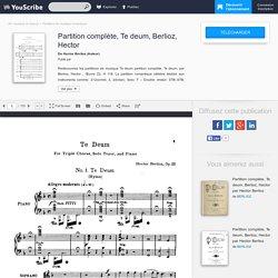 Partition complète, Te deum, Berlioz, Hector sur youscribe