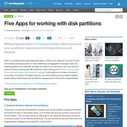 Five Apps for working with disk partitions