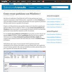 Come creare partizione con Windows 7