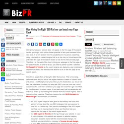 How Hiring the Right SEO Partner can boost your Page Rank - BizPR.ca