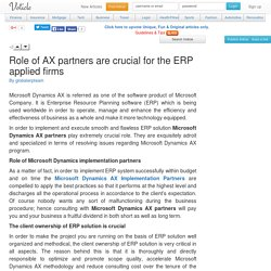 Role of ax partners are crucial for the erp applied firms Voticle.com